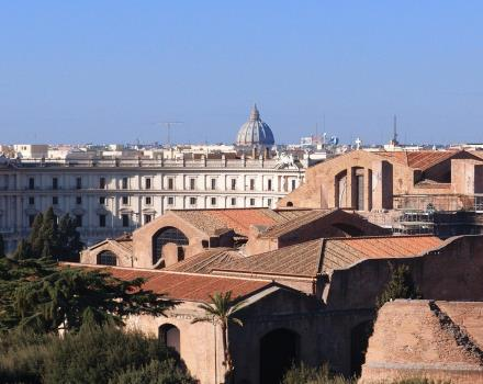 Some rooms at the Best Western Premier Hotel Royal Santina, centrally located in Rome, enjoy a charming view of the dome of St. Peter''s.